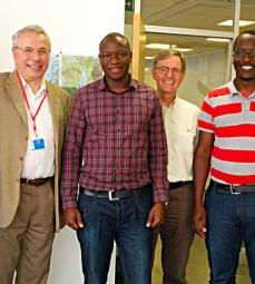The 1st group of international scholarship beneficiaries (L-R) Joshua (beneficiary), Etienne (Lecturer), Paul(Beneficiary),Daniel (Senior Geo-Scientist), Joe and Perez (Beneficiaries)