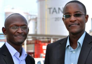 (L) Henry and (R) Jesse, the first beneficiaries of the AMO Graduate exchange programme from TOTAL Uganda.