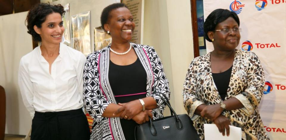Total E&P's Corporate Affairs Manager Ahlem Friga-Noy, the Minister of energy and mineral development Hon. Irene Muloni and the commissioner of Museums and Antiquities Rose Mwanje